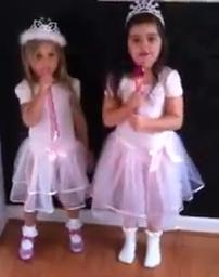"Sophia Grace and Rosie starting to sing Nicki Minaj's ""Super Bass."" Photo courtesy of Youtube.com."